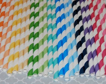 "50 barber striped paper drinking straws - you pick colors and designs -  FREE Blank Flags.  See - ""Personalized"" flag option."