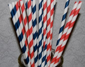 """50 Red and Navy Blue mixed combo striped paper drinking straws - with FREE Blank Flag Template.  See also - """"Personalized"""" flags option."""