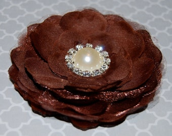 fabric flower  -  3 1/2'' camellia  flower wedding silk flowers with pearl and diamond rhinestone center with alligator hair clip  - brown