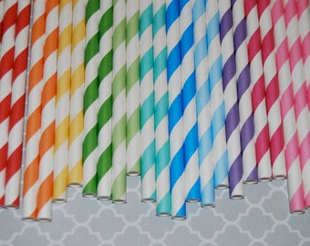 "Rainbow Mix striped paper drinking straws - free Blank Flags.  See - ""Personalized"" flag option."