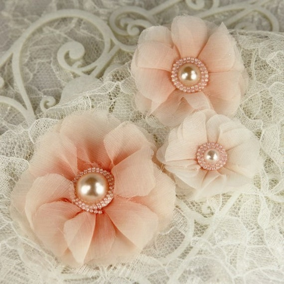 Millinery Dandy Sheer Fabric Flowers 547288  - Peach