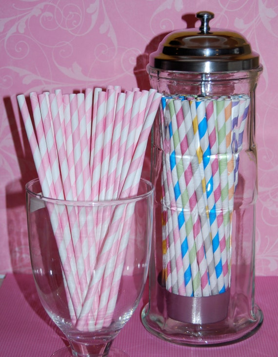 "50 Pink Paper stripe straws  - barber striped paper drinking straws -  with FREE DIY Flags.  See also - ""Personalized"" flags option."
