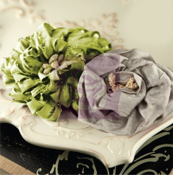 """Dechire Collection Noir-  548711 - Silk Dupioni fabric flowers with seed pod centers.  2 pieces/pack. Approximately 2.25"""" -3.25"""""""