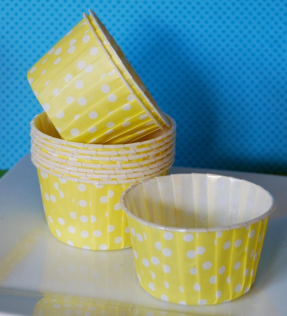 Yellow Polka Dot Candy Cups  Baking cupcake liners  muffin cups Ice cream Nut  Treat  dessert party  cups - 24 count