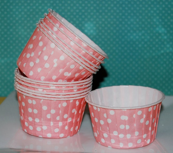 Pink Polka Dot  Candy Cups, Nut cups, Baking cupcake liners or muffin cups, Ice cream cup, dessert cups - (24) count