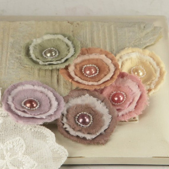 Softees Collection - Bonnet 547950 -  Mullberry Paper Flowers in mixed  colors with beaded pearl centers