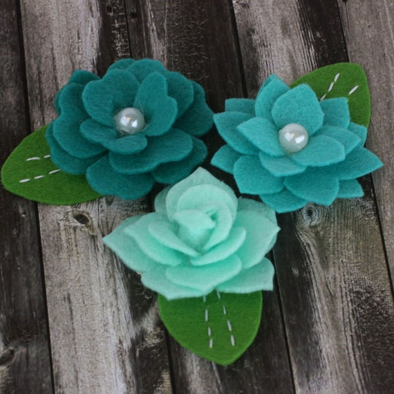 fabric flowers - Hermosa  Collection - Teal 557997 - layered felt flowers - for card making, jewelry,  journal, album accents - teal