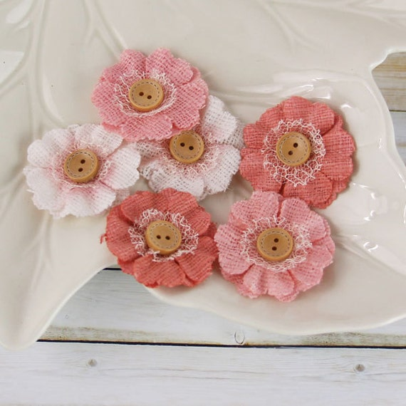 """1.5"""" fabric flowers - Primmers Collection - Peach 558369 - Natural  fabric flowers with cute button centers - coral pink peach"""