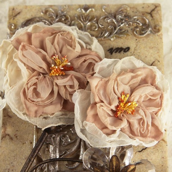 Parfait Collection - Coffee 547240 - Sheer silk fabric flowers with stamen
