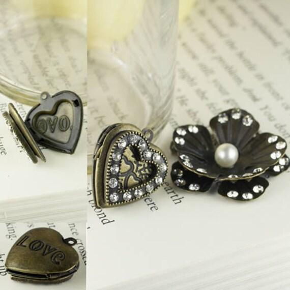 Vintage Trinkets -550691 - Vintage metal charms - rhinestone antique bronze heart picture locket, rhinestone embellished flower pearl center