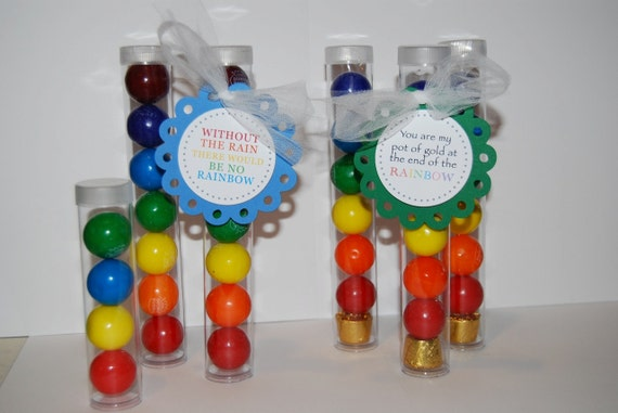 """Clear plastic tubes with caps - Qty 12 - See also """"personalized custom tags"""" option & 1"""" gumballs - party favors gift shower bridal wedding"""