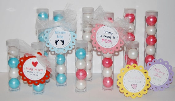 """Clear plastic tubes with caps - Qty 24 - See also """"personalized custom tags"""" option & 1"""" gumballs - party favors gift  shower bridal wedding"""