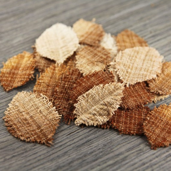 Lovely Fabric leaves 547516 -  rose shaped hand dyed burlap fabric leaves - shades of brown rustic fall colors
