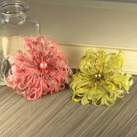 2 feather flowers - Le Coque Mystique 552824 - exotic feathers fashioned into flowers with pearl centers - coral pink and yellow