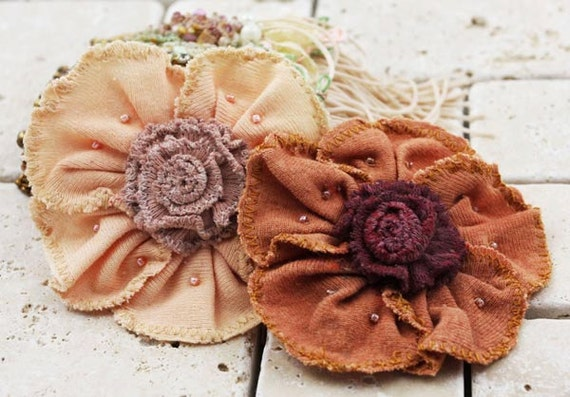 Fabric Flowers -Pas De Chat Collection - Ginger 531881 -  jersey soft  fabric flowers accented with tiny pearl beads