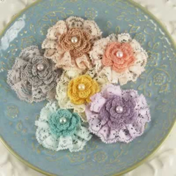 "Angelous Collection - Bethor 542719 - lace flowers with diameter approximately 2"" and made crochet and lace fabric."