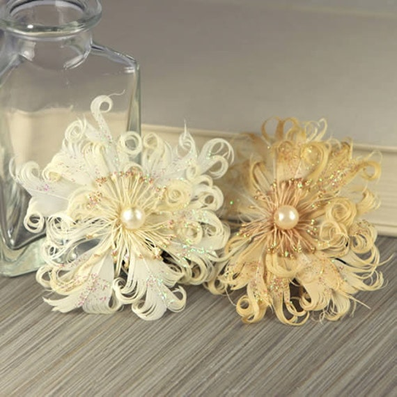 2 Ivory Cream Feather Flowers - Le Coque Pearl 552817 - exotic feathers fashioned into flowers with pearl centers - ivory cream