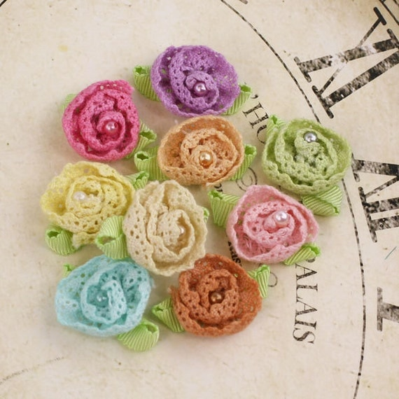 Fabric Flowers - Harmonie Collection - Pastel 556877 - Tiny fabric lace flowers with a pearl center