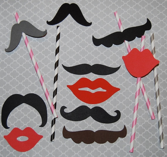 25 mixed Mustaches & Lip Cut Outs - Photo Booth Props - Party Decorations - Garland - Cake Toppers -  party straws - wedding shower parties