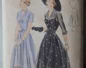 1940s Vogue 6757 Vintage Sewing Pattern One-Piece Dress with Gathered V Neck Full Skirt Sheer Overlay Bust 34