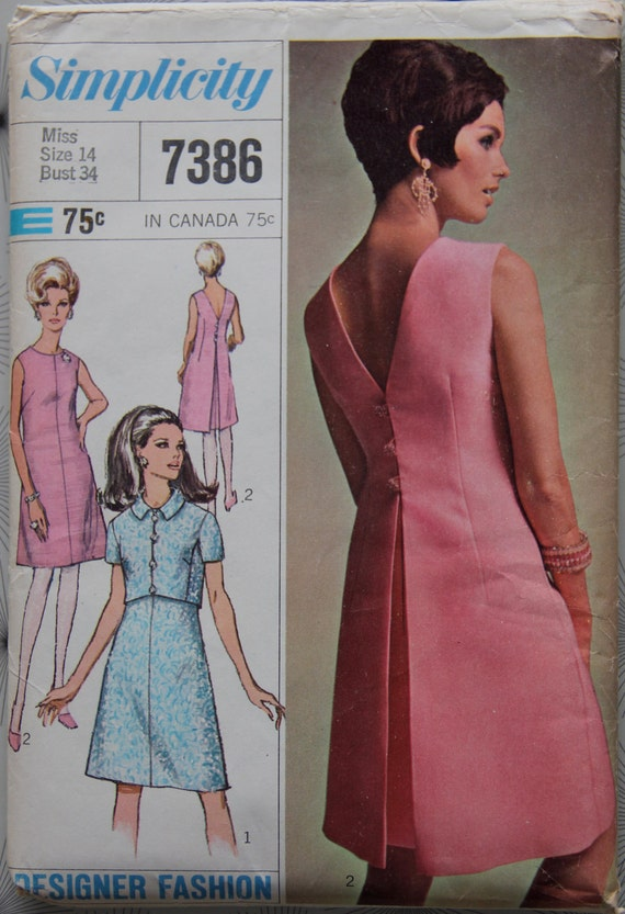 1960s Simplicity 7386 Vintage Pattern Misses A Line Dress with V Back and Short Sleeved Jacket...Designer Fashion Bust 34
