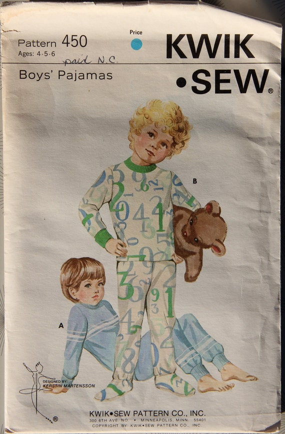 1970s Boys Pajamas Pattern Kwik Sew 450 Vintage Sewing Pattern Ages 4-5-6