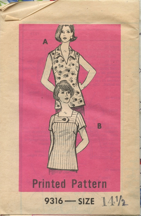 1970s Vintage Mail Order 9316 Half Size Sewing Pattern - Petite Misses Square or V Neck Tops with Sleeve Variatons - Bust 37 UC FF