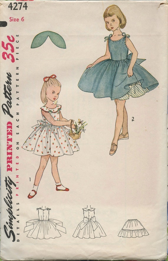 1950s Simplicity 4274 Vintage Sewing Pattern Child's One-Piece Dress and Petticoat with Transfer Size 6