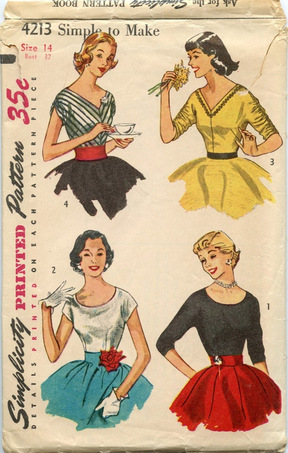 1950s Simplicity 4213 Vintage Sewing Pattern Misses Scoop or V Neck Fitted Tops Size 14 Bust 32