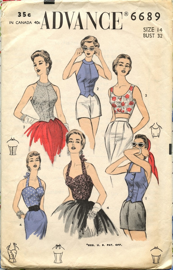 1950s Advance 6689 Vintage Sewing Pattern Sexy Rockabilly Halter Tops Bust 32