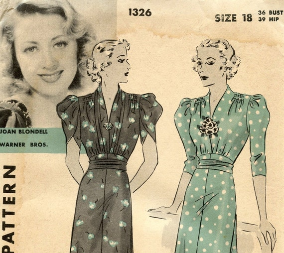 1930s Hollywood 1326 Vintage Sewing Pattern Featuring Joan Blondell One Piece Dress Shirred Shoulders Tulip Puff Sleeves Bust 36