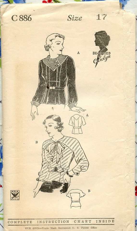 1930s Vintage Sewing Pattern C886 Designed by Carolyn NRA Symbol Juniors Blouse Plaits Contrast Collar and Cuffs Bust 35