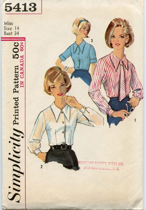 1960s Simplicity 5413 - Vintage Blouse Pattern - Short or Long Sleeve Blouse and Tie - Bust 34