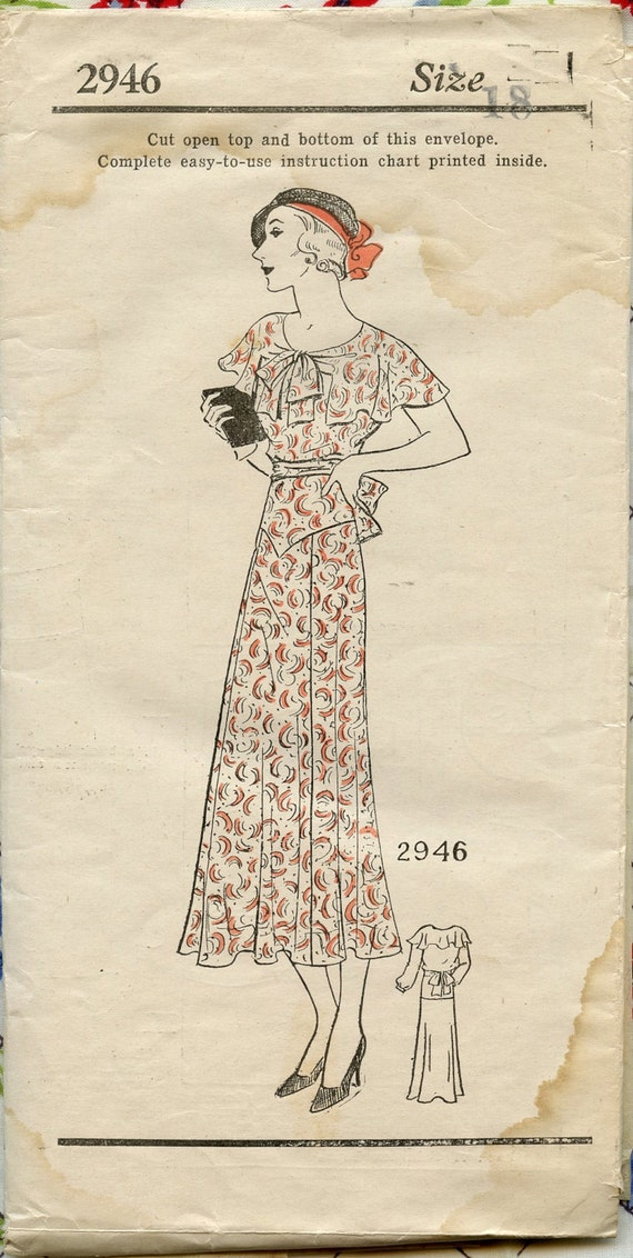 1930s Vintage Sewing Pattern Mail Order 2946 by Suzanne Lane Misses Dress with Cape Collar Bust 36