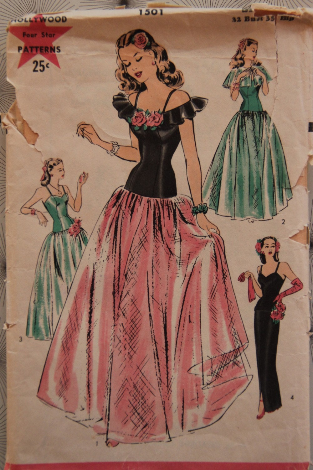 1940s Hollywood Evening Gowns: 1940's Vintage Hollywood Pattern 1501 Evening Gown And