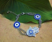 Hamsa Hand with Blue Evil Eye Bracelet