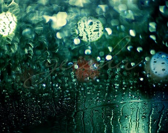 color photography rain drops photo fine art photograph rainy window bokeh lights windscreen green black night abstract