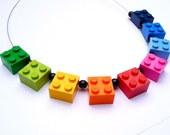 Upcycling Necklace  - play with me - RAINBOW  Handmade Necklace - happy jewelry geekery edgy funny crazy eyecatcher bright colourful iconic