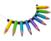 Eco friendly upcycling Necklace - pencilmania - Purple, Blue, Cyan, Green & Yellow