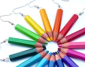 Upcycling Earrings - pencilmania - made with genuine color pencils - recycling - eco friendly - edgy - geeky - jewelry for children, rainbow