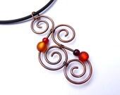 Necklace - Aotearoa - with polarisbeads - RED & ORANGE -  New Zealand Koru wire wrapped