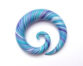 Expander for ear lobe stretching - Purple, Turquoise & White - 9mm
