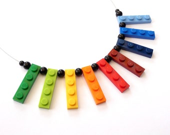 Upcycling Necklace  - play with me - RAINBOW  - bright colorful bricks - recycling - eyecatcher - crazy - iconic - funny - gift - children