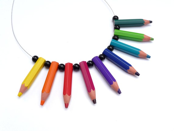Upcycling Necklace - pencilmania - Rainbow - Made with genuine color pencils - pencil jewelry - great gift for artists - crazy - eyecatcher