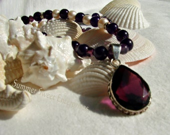February Birthstone, Amethyst, Pearl Necklace & Earring Set with Dark Amethyst Pendant