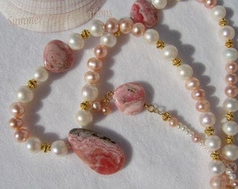 Rhodochrosite with Pink and White Pearl Necklace and Earring Set