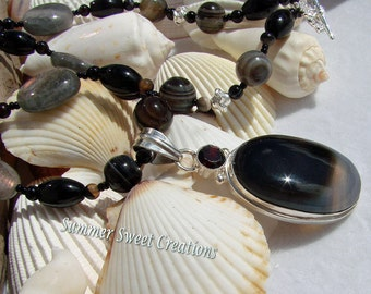 Onyx,  Labradorite Necklace and Earring Set with Silver Onyx Pendant