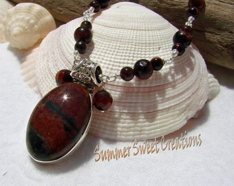 Bloodstone, Aries Birthstone, with Red Tiger Eye and Carnelian Gemstone necklace Set