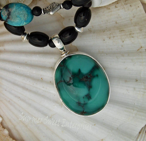 December Birthstone, Turquoise Necklace Beaded with, Red Tiger Eye and Black Onyx