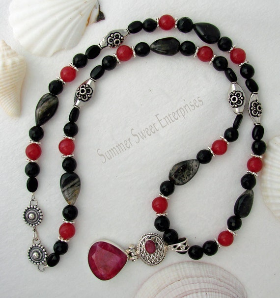Ruby in Silver Pendant with Black Onyx, Ruby, Moss Rutile and Silver beads Necklace Set